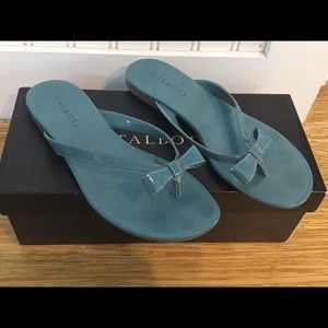 Talbots Aqua Sandals with Bow Accent